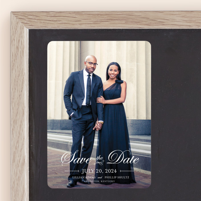 """""""At Last"""" - Full-Bleed Photo, Elegant Save The Date Magnets in Cotton by lena barakat."""