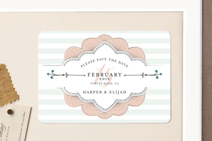 """Striped Sweet Nothings"" - Classical, Modern Save The Date Magnets in Romantic by Frooted Design."