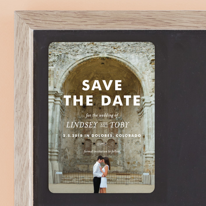 """""""Memento"""" - Modern Save The Date Magnets in Ivory by annie clark."""