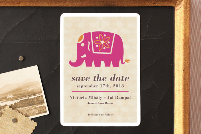 """Indian Elephant"" - Save The Date Magnets in Magenta by Alex Elko Design."