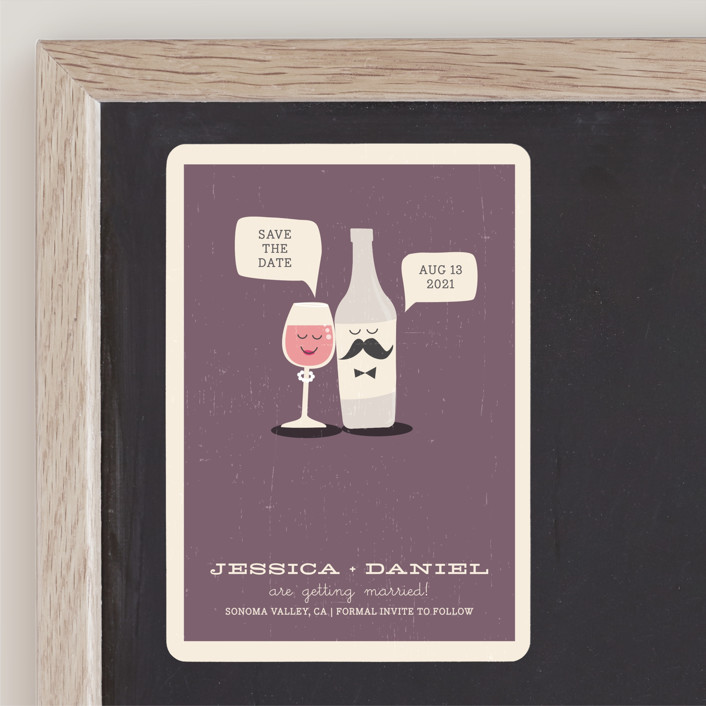"""Little Wine Charmers"" - Whimsical & Funny Save The Date Magnets in Plum by Coco and Ellie Design."
