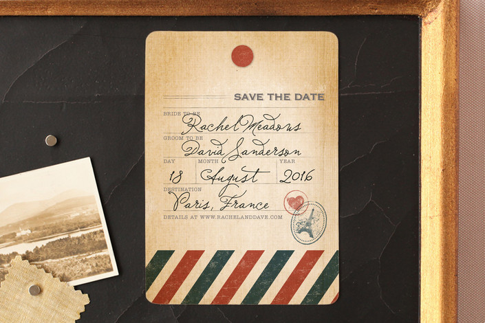 """Vintage Pack Your Bags"" - Destination, Vintage Save The Date Magnets in Post Office by Dawn Jasper."