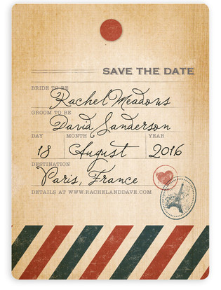 Vintage Pack Your Bags Save the Date Magnets