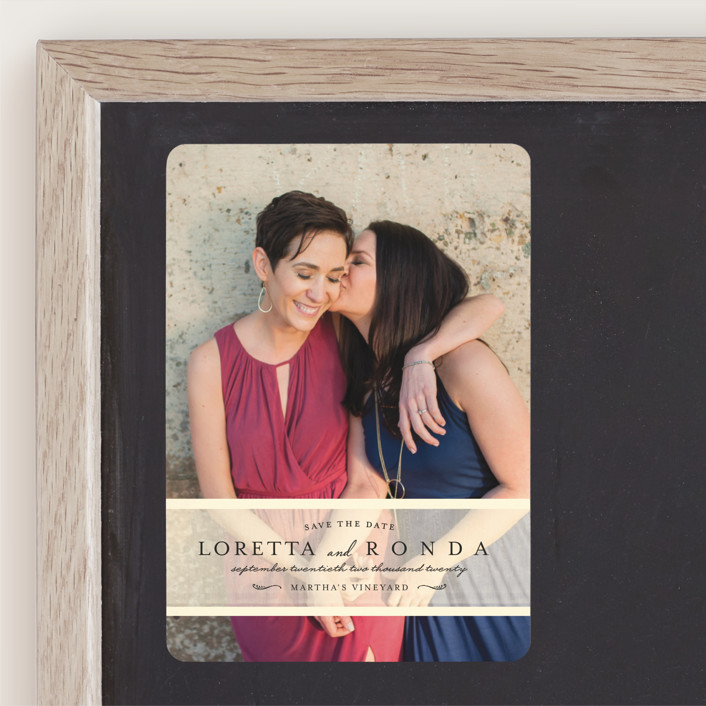 """""""Clean Linen"""" - Full-Bleed Photo, Simple Save The Date Magnets in Cream by Lori Wemple."""