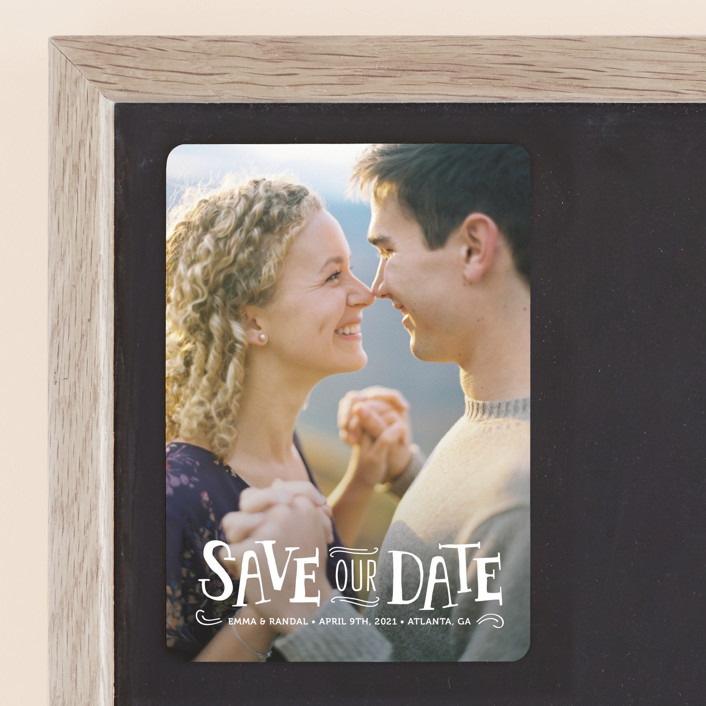 """""""Story Book"""" - Full-Bleed Photo, Vintage Save The Date Magnets in Snow by Kristen Smith."""