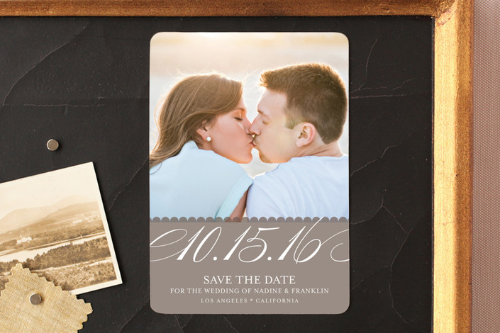 """Elegant Year"" - Formal Save The Date Magnets in Taupe by annie clark."