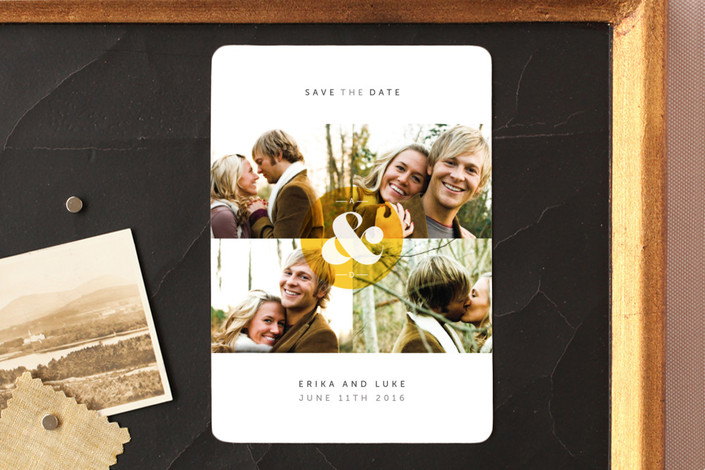 """""""Ampersand Monogram"""" - Save The Date Magnets in Marigold by Chryssi Tsoupanarias."""