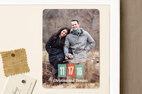 Retro Numbers Save The Date Magnets