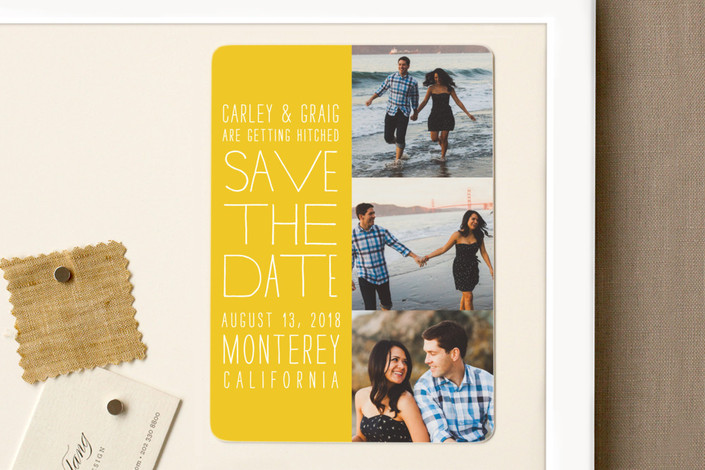 """""""Film Strip"""" - Modern, Simple Save The Date Magnets in Lemon by annie clark."""