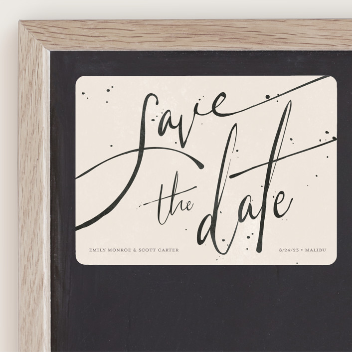 """Inky"" - Modern Save The Date Magnets in Cream by GeekInk Design."