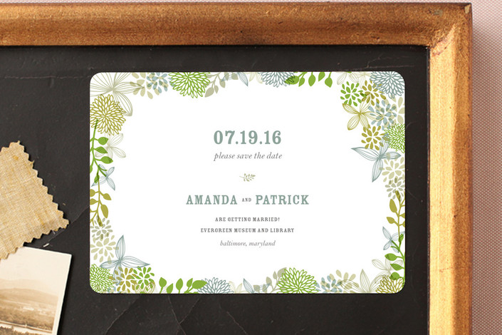 """""""Fling"""" - Floral & Botanical Save The Date Magnets in Clover by Andrea Mentzer."""