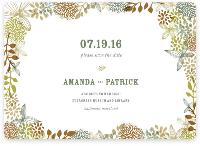 This is a landscape, square orientation botanical, brown Save the Dates by Andrea Mentzer called Fling with Standard printing on Magnet Paper in Magnet Flat Card format.