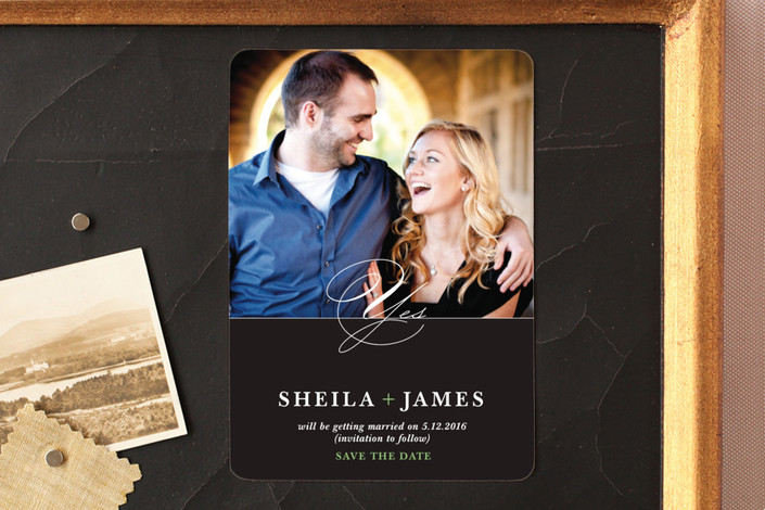"""""""A Modern Yes"""" - Formal Save The Date Magnets in Mint by Jenifer Martino."""