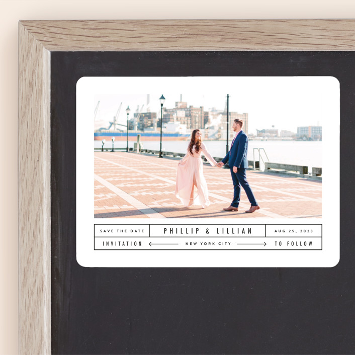 """Between The Lines"" - Save The Date Magnets in Blazer by Fine and Dandy Paperie."