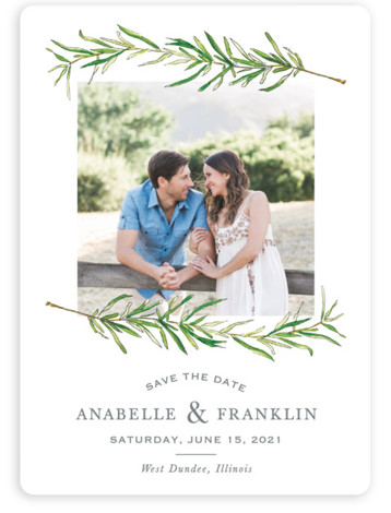 This is a portrait botanical, white Save the Dates by Erin Deegan called Simple Sprigs with Standard printing on Magnet Paper in Magnet Flat Card format. Simple and traditional wedding invitation featuring sprigs of rosemary.