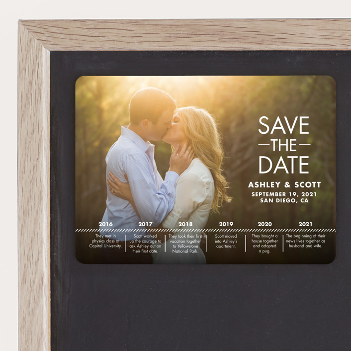 """""""Our Timeline"""" - Modern Save The Date Magnets in Wedding Dress by Andi Pahl."""