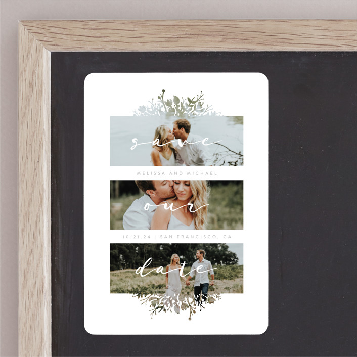 """Whispers"" - Save The Date Magnets in Stone by JeAnna Casper."