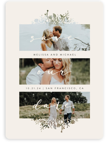 This is a portrait botanical, floral, beige Save the Dates by JeAnna Casper called Whispers with Standard printing on Magnet Paper in Magnet Flat Card format. A simple design with unique frames to let the photos shine through.