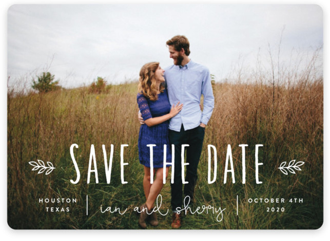 This is a landscape bohemian, white Save the Dates by Sara Hicks Malone called Homegrown with Standard printing on Magnet Paper in Magnet Flat Card format. Rustic + charming