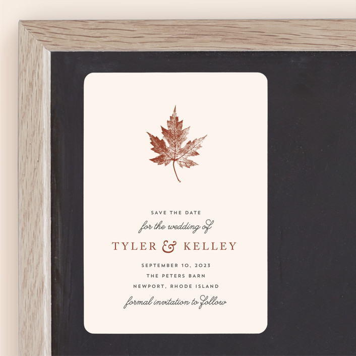 """Leaf Print"" - Save The Date Magnets in Mocha by Katharine Watson."