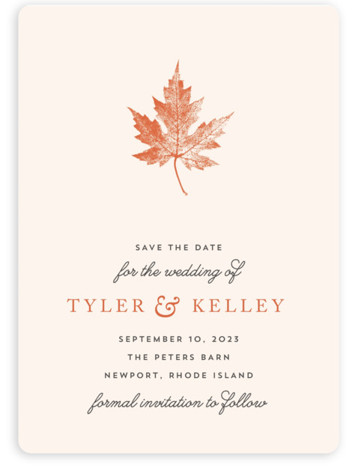 This is a portrait botanical, orange Save the Dates by Katharine Watson called Leaf Print with Standard printing on Magnet Paper in Magnet Flat Card format. This design uses a single leaf print to create a rustic, fall inspired wedding ...