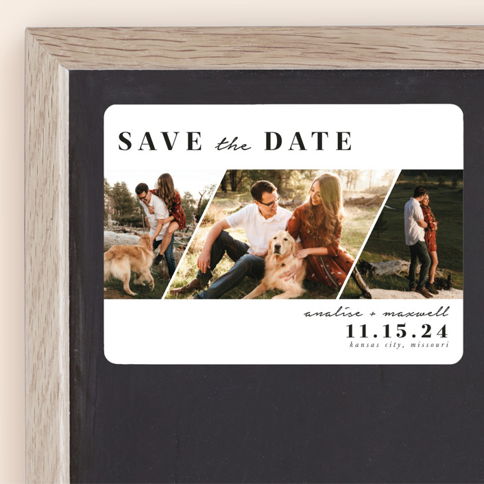 """""""Diamond Trio"""" - Modern Save The Date Magnets in Pearl by Stephanie Given."""