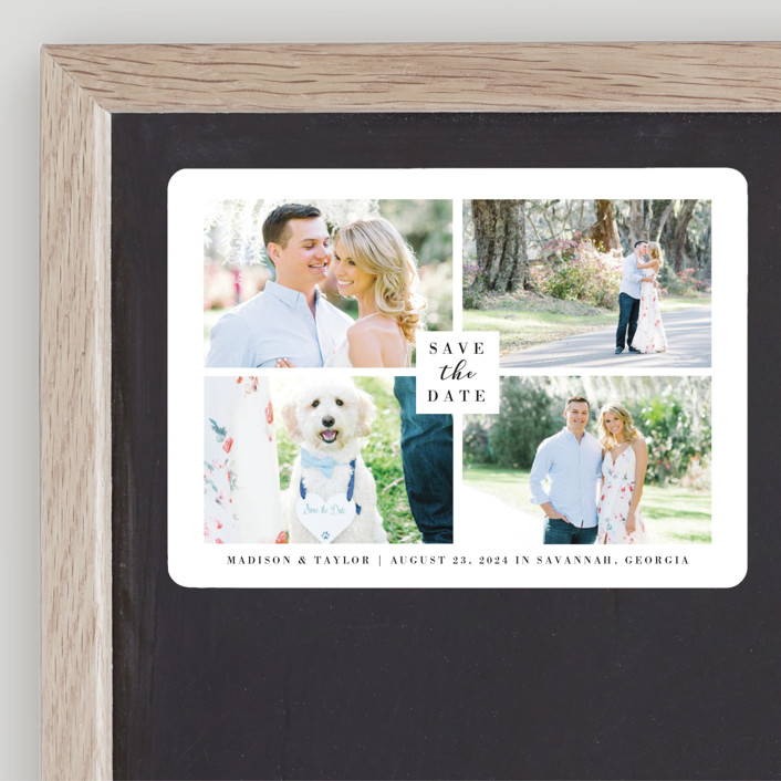 """""""Charmed Elegance"""" - Save The Date Magnets in Tuxedo by Kasia Labocki."""