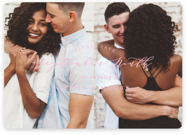 This is a landscape, portrait classic and formal, pink Save the Dates by Owl and Toad called New Style with Standard printing on Magnet Paper in Magnet Flat Card format. Full bleed photo design with featured text