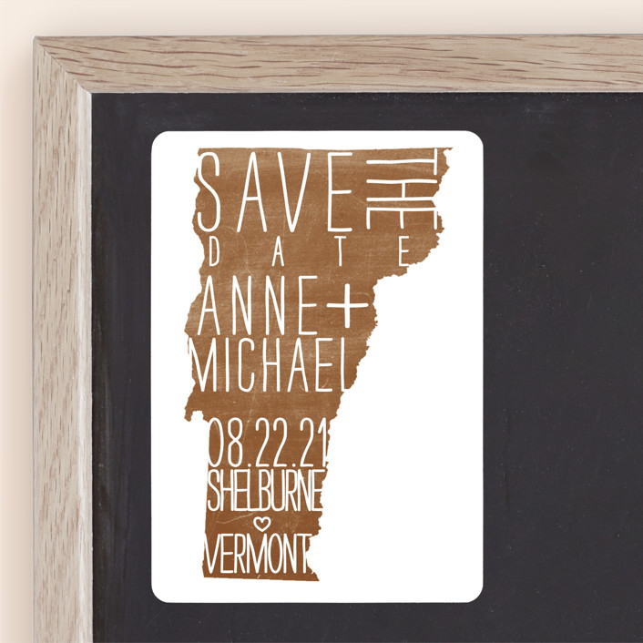 """""""State Stamp - Vermont"""" - Save The Date Magnets in Forest by Fig and Cotton."""