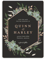 This is a black save the date magnet by Susan Moyal called Succulent Surround with standard printing on magnet paper in magnet.