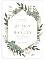 This is a white save the date magnet by Susan Moyal called Succulent Surround with standard printing on magnet paper in magnet.
