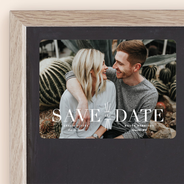 """Mix + Mingle"" - Save The Date Magnets in Cloud by Lauren Chism."