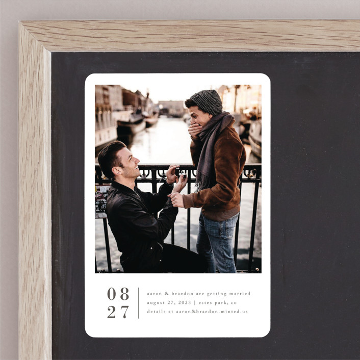 """""""Stacked Banner"""" - Save The Date Magnets in Cotton by Amy Kross."""