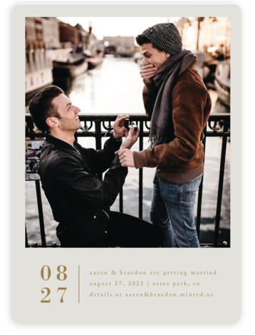 This is a portrait simple and minimalist, beige, white, yellow Save the Dates by Amy Kross called Stacked Banner with Standard printing on Magnet Paper in Magnet Flat Card format. This modern, minimal design highlights your photo.