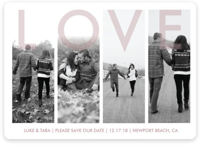 This is a landscape modern, purple Save the Dates by Hayley Fedders called Bold Love with Standard printing on Magnet Paper in Magnet Flat Card format. This four picture save the date is a great way to boldly show your ...