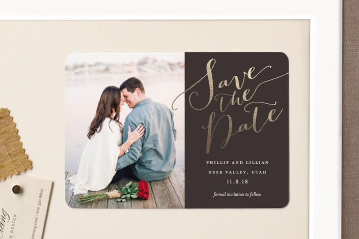 """Cottonwood"" - Elegant, Classical Save The Date Magnets in Storm by Eric Clegg."