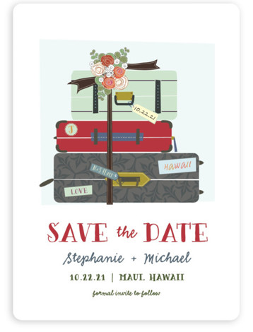 This is a portrait illustrative, red Save the Dates by Rebecca Bowen called Luggage with Standard printing on Magnet Paper in Magnet Flat Card format. All packed and ready to wed!