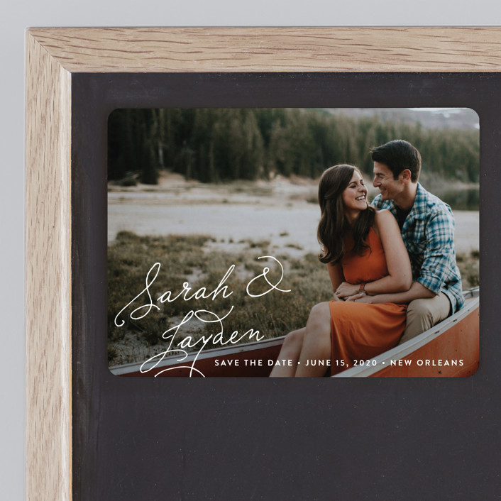 """""""Name Love"""" - Save The Date Magnets in Snow by Chasity Smith."""