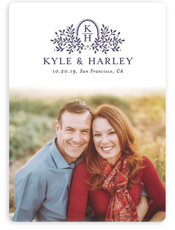 This is a portrait botanical, purple Save the Dates by Little Words Design called Belfast with Standard printing on Magnet Paper in Magnet Flat Card format. A sweet and elegant save the date with floral monogram and formal lettering