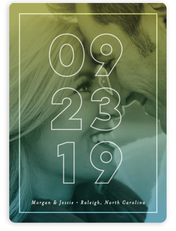 This is a landscape, portrait bold and typographic, blue, green, yellow Save the Dates by Pink House Press called Just Picture It with Standard printing on Magnet Paper in Magnet Flat Card format. This save the date features a prominent ...