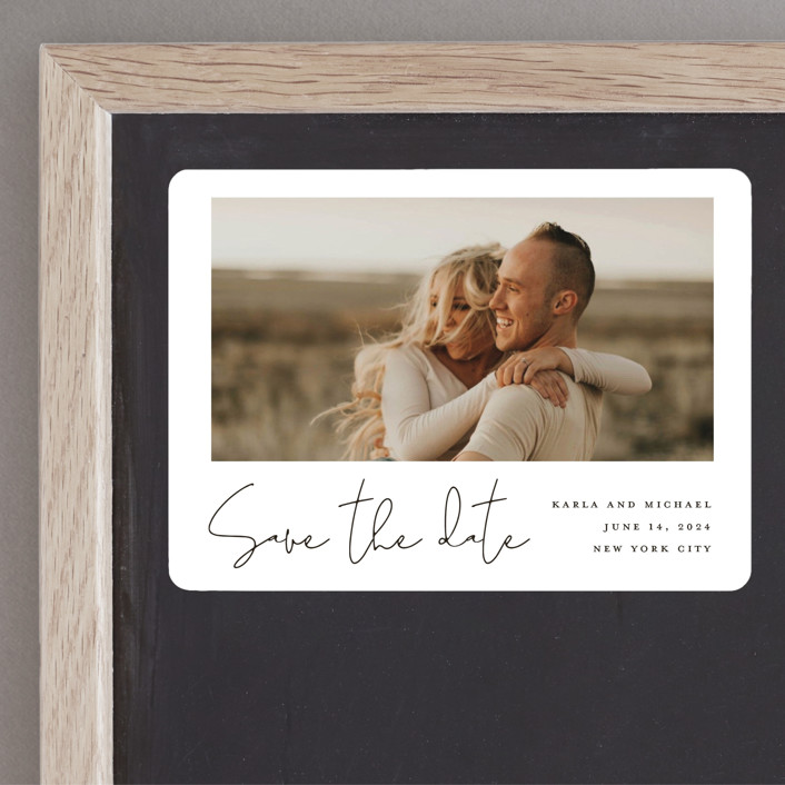 """""""Scripted Style"""" - Save The Date Magnets in Cloud by Katherine Moynagh."""