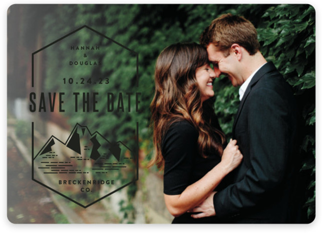 This is a landscape illustrative, black Save the Dates by Jessica Ogden called Modern Rusticism with Standard printing on Magnet Paper in Magnet Flat Card format. A modern save the date for an outdoor or mountain destination wedding.