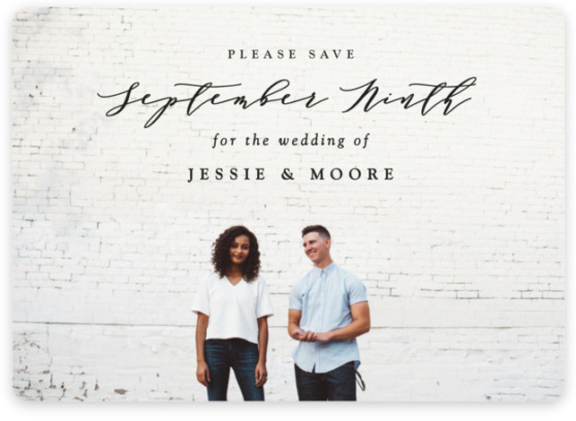 This is a landscape, portrait classic and formal, black Save the Dates by Owl and Toad called New Style with Standard printing on Magnet Paper in Magnet Flat Card format. Full bleed photo design with featured text