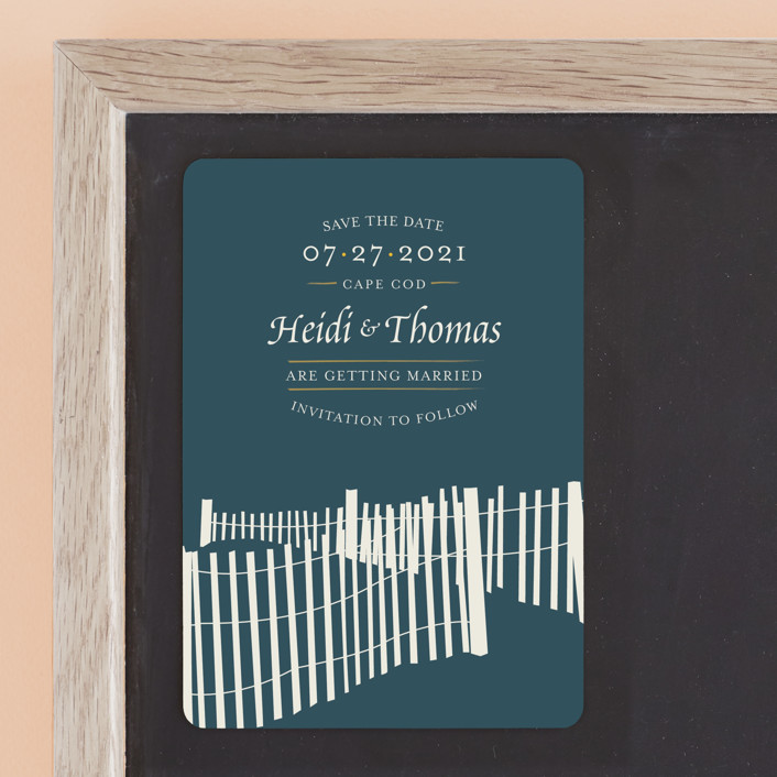 """""""Beachside"""" - Save The Date Magnets in Navy by 24th and Dune."""