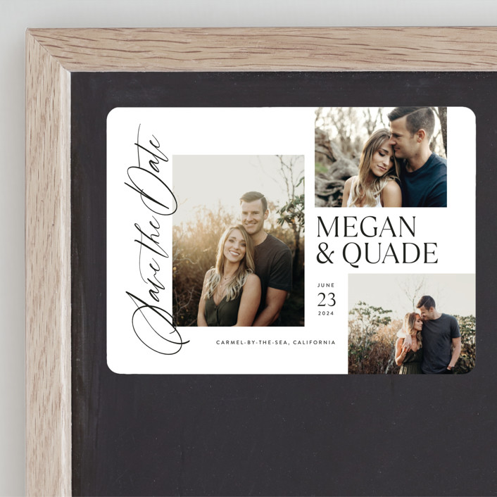 """""""Editorial Trio"""" - Save The Date Magnets in Snow by Jill Means."""
