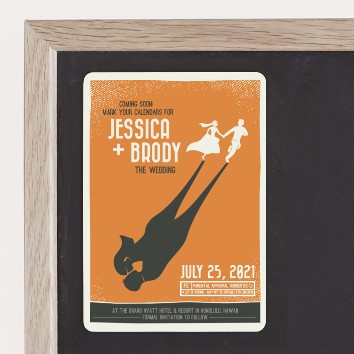 """""""Retro Movie Poster"""" - Save The Date Magnets in Tangerine by bumble ink."""