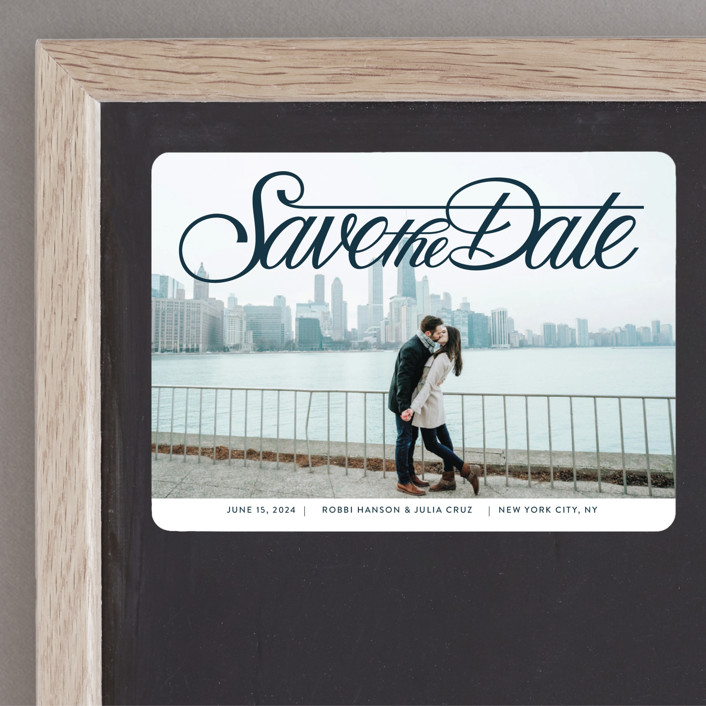 """""""Lettering Crossbar"""" - Save The Date Magnets in Midnight by Jill Means."""