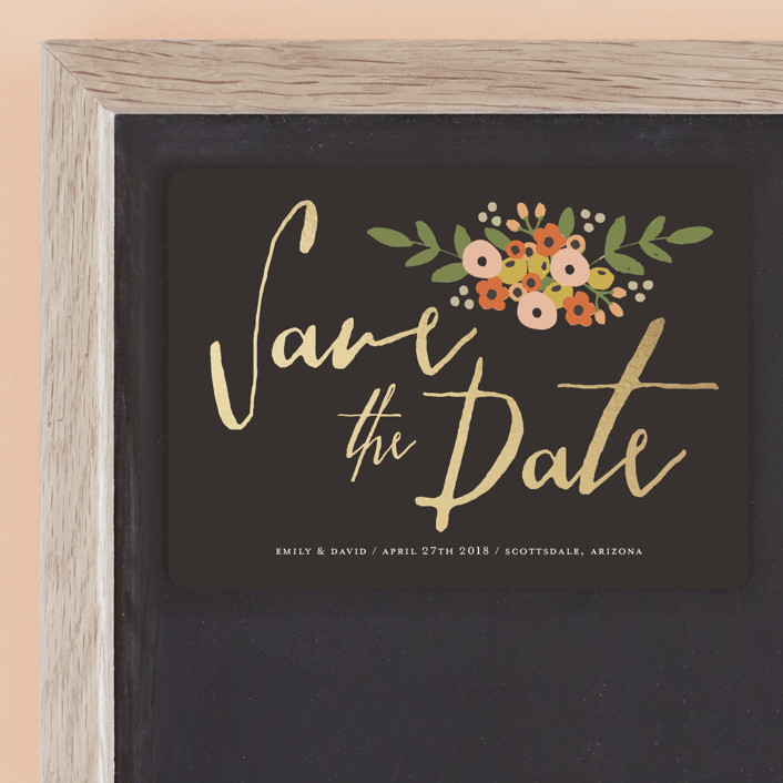 """""""Tiny Flower Bunch"""" - Rustic Save The Date Magnets in Charcoal by August and Oak."""