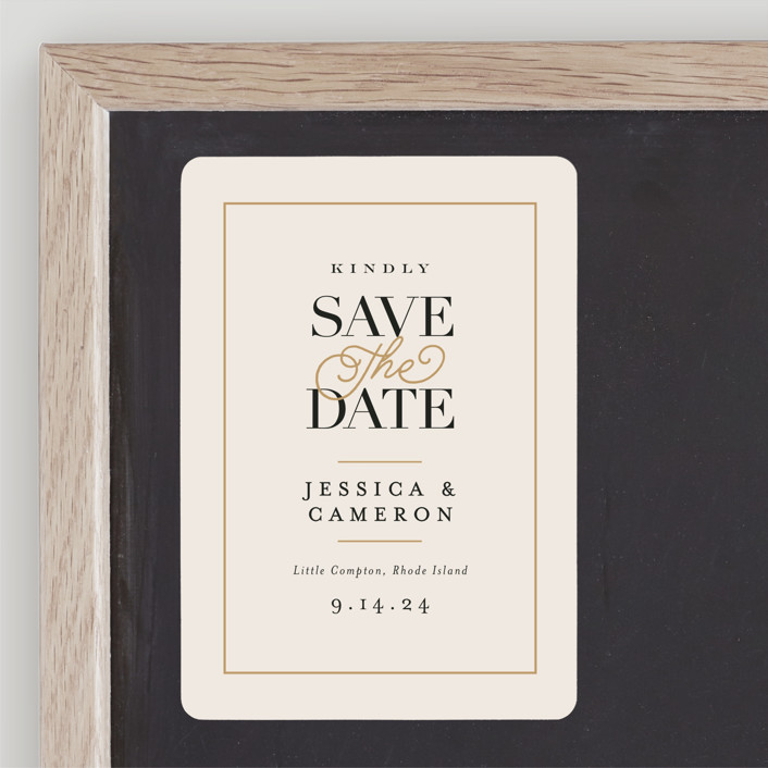 """Ivory Details"" - Save The Date Magnets in Smoke by Jennifer Wick."