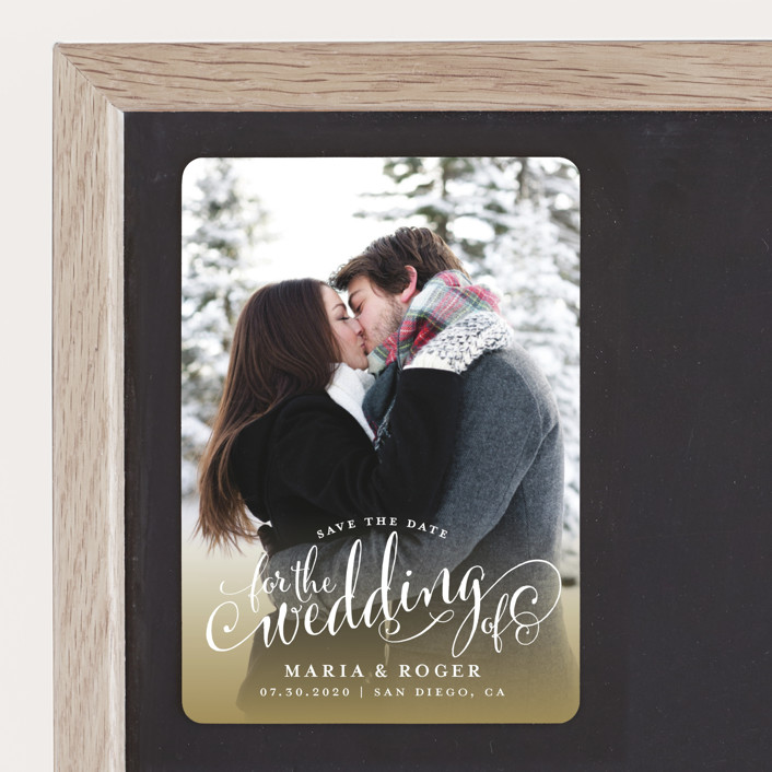 """""""Smashing Script"""" - Save The Date Magnets in Powdered Snow by Jill Means."""